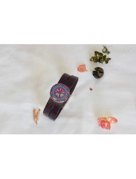 Leather bracelet with mandala